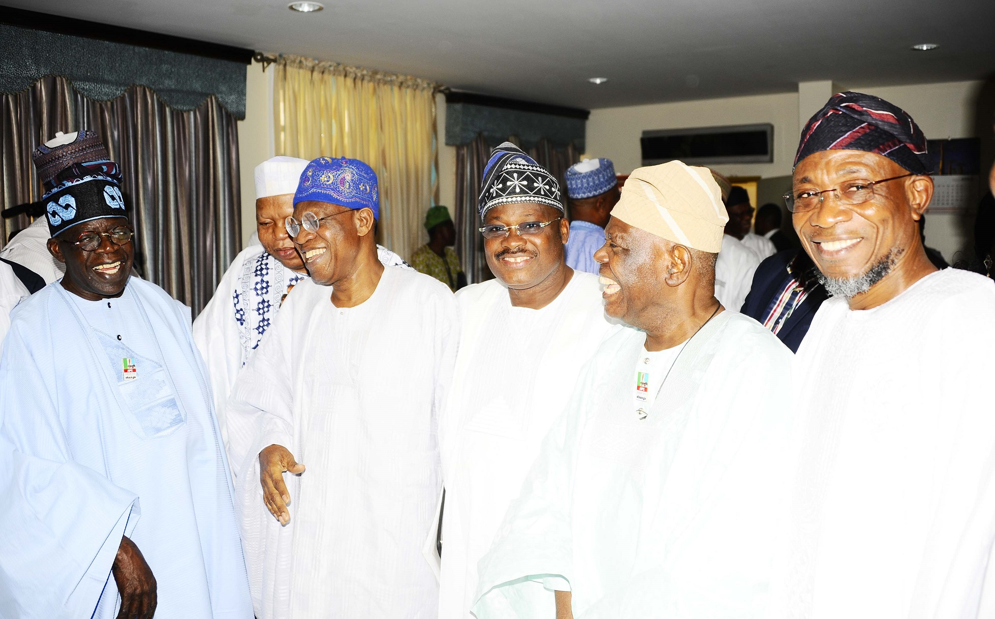 From right, Governor State of Osun, Ogbeni Rauf Aregbesola; National Leader, All Progressives Congress (APC), Chief Bisi Akande; Oyo State Governor, Abiola Ajimobi; APC Publicity Secretary, Lai Mohammed; Former Kogi State Governor, Prince Abubakar Audu; Asiwaju Bola Tinubu and others, during the presentation of Certificate of Return to the President-Elect, Muhammadu Buhari at National Conference Centre, Abuja on Wednesday 01-04-2015