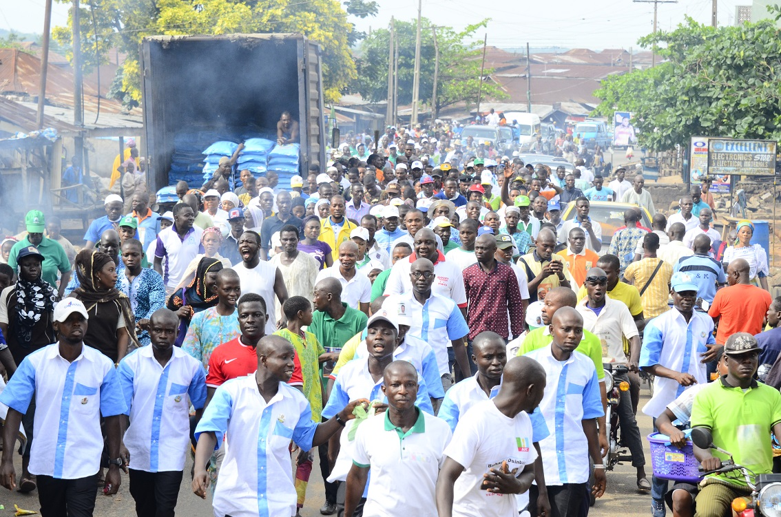 All Progressives Congress (APC) supporters in Iwo Local Government area of Osun participating in a Walk-For-Continuity Exercise in support of their Candidates in the House of Assembly and seek for votes in Saturday election at Iwo on Thursday 09-04-2015