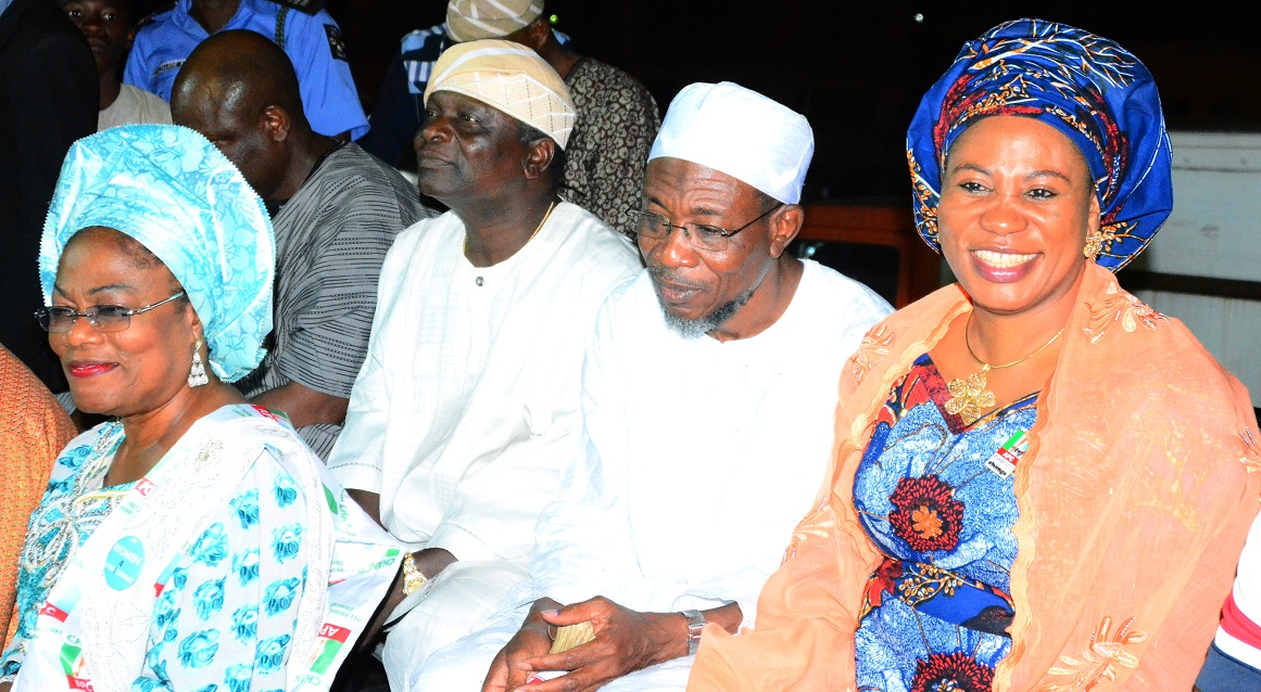 South west coordinator, Buhari/Osibajo Presidential Campaign, Governor Rauf Aregbesola (2nd right); his Wife, Alhaja Sherifat Aregbesola (right); Former Osun Governor, Prince Olagunsoye Oyinlola and Osun Deputy Governor, Mrs. Tit Laoye-Tomori during the Celebration of the General Muhamadu Buhari's victory at the 2015 Presidential Election, at Nelson Mandela Freedom Park, Osogbo, on Tuesday 31/03/2015.
