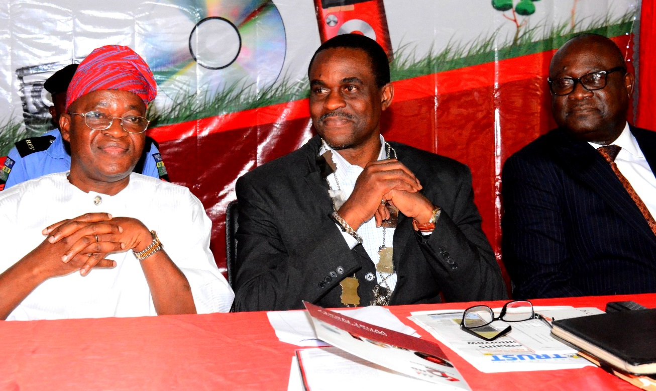 From left - Representative of Osun Governor and Chief of Staff to the Governor, Alhaji Gboyega Oyetola; President, Association of Advertising Agencies of Nigeria, Mr. Kelechi Nwosu and Chairman, Advertising Practitioners Council of Nigeria (APCON), Mr. Udeme Utot, during the 42nd Annual General Meeting and Congress of the Association of Advertising Agencies of Nigeria, at Leisure Spring Hotel, Osogbo, on Friday 24/07/2015.