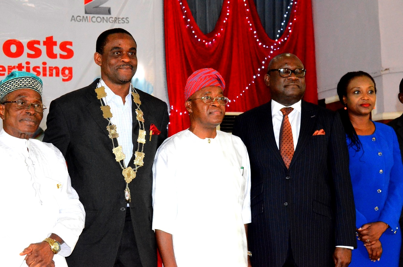 Representative of Osun Governor and Chief of Staff to the Governor, Alhaji Gboyega Oyetola(middle);President, Association of Advertising Agencies of Nigeria, Mr. Kelechi Nwosu(2nd left) Chairman, Advertising Practitioners Council of Nigeria (APCON), Mr. Udeme Utot (2nd right),Vice Chairman Event Planning Committee (AAAN),Mrs. Bisi Afolabi and Chairman Board of Trustees (AAAN), Mr. Ayo Owoborode  during the 42nd Annual General Meeting and Congress of the Association of Advertising Agencies of Nigeria, at Leisure Spring Hotel, Osogbo, on Friday 24/07/2015.
