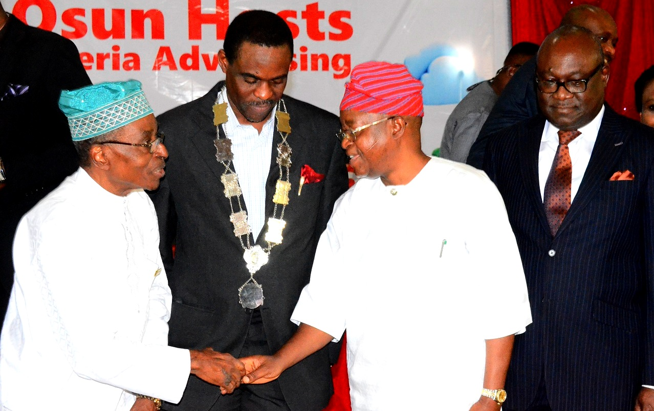 Representative of Osun Governor and Chief of Staff to the Governor, Alhaji Gboyega Oyetola(2nd right);President, Association of Advertising Agencies of Nigeria, Mr. Kelechi Nwosu(2nd left) Chairman, Advertising Practitioners Council of Nigeria (APCON), Mr. Udeme Utot (right)and Chairman Board of Trustees (AAAN), Mr. Ayo Owoborode(left) during the 42nd Annual General Meeting and Congress of the Association of Advertising Agencies of Nigeria, at Leisure Spring Hotel, Osogbo, on Friday 24/07/2015.