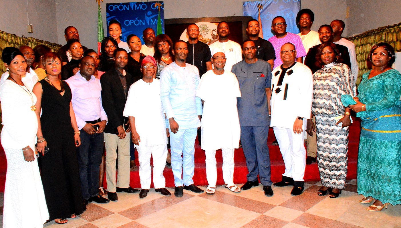 Governor State of Osun, Ogbeni Rauf Aregbesola (5th right); President, Association of Advertising Agencies of Nigeria (AAAN), Mr. Kelechi Nwosu (4th right), his vice, Mr. Kayode Oluwasona (middle), Chief of Staff to Osun Governor, Alhaji Gboyega Oyetola (5th left), Chairman, Event Planning Committee of (AAAN), Mr. Tunji Olugbodi (3rd right) and others, at a parley in honour of members of the Association of Advertising Agencies of Nigeria (AAAN) which rounded off its annual general meeting in Osogbo on Saturday. 26/072015.