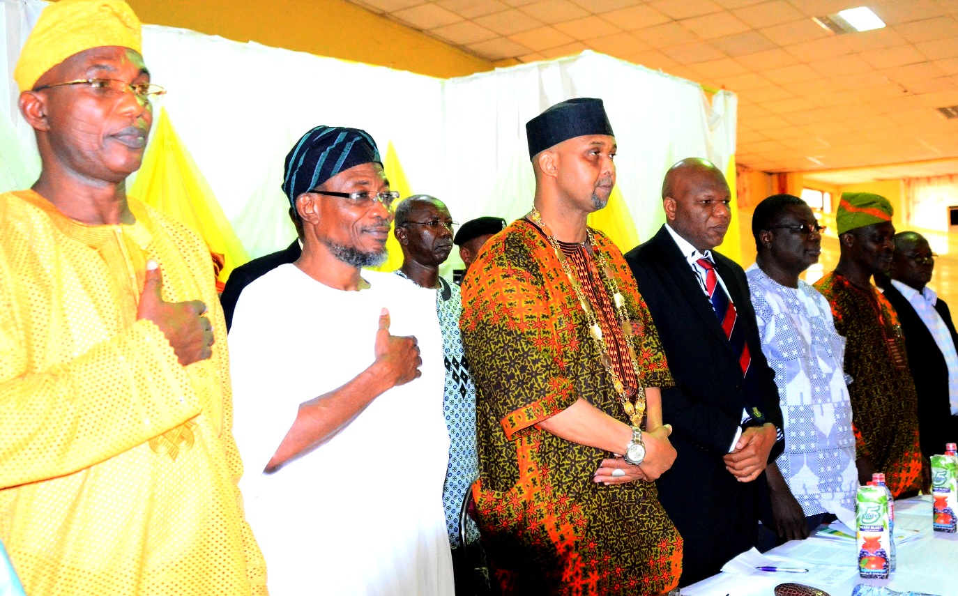"""Governor State of Osun, Ogbeni Rauf Aregbesola(2nd left); President, Nigerian Library Association, Alhaji Ridwan Abdul-Salam (5th right), Secretary to the State Government, Alhaji Moshood Adeoti(left), Chairman of the Occasion, Prof. Eyitope Ogunbodede (4th right)Chairman Nigerian Library Association,Osun chapter, Prince Rotimi Obadare (2nd right) and others during the 53rd Annual General Meeting/National Conference of Nigerian Library Association NLA tagged """"Omoluabi 2015"""", at WOCDIF Event Centre, Osogbo, on Tuesday 28/07/2015."""