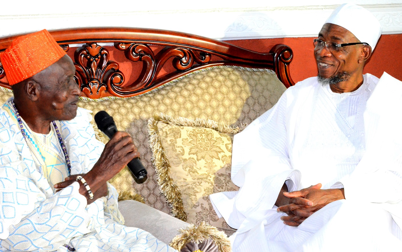 Governor State of Osun, Ogbeni Rauf Aregbesola and Lowa of Ile-Ife, High Chief Joseph Olasoji  Ijaodola, during the Ife Traditional Council's visit to the Governor on the Rumoured Death of the Ooni of Ife at Government House,Osogbo on Thursday 30/07/2015.