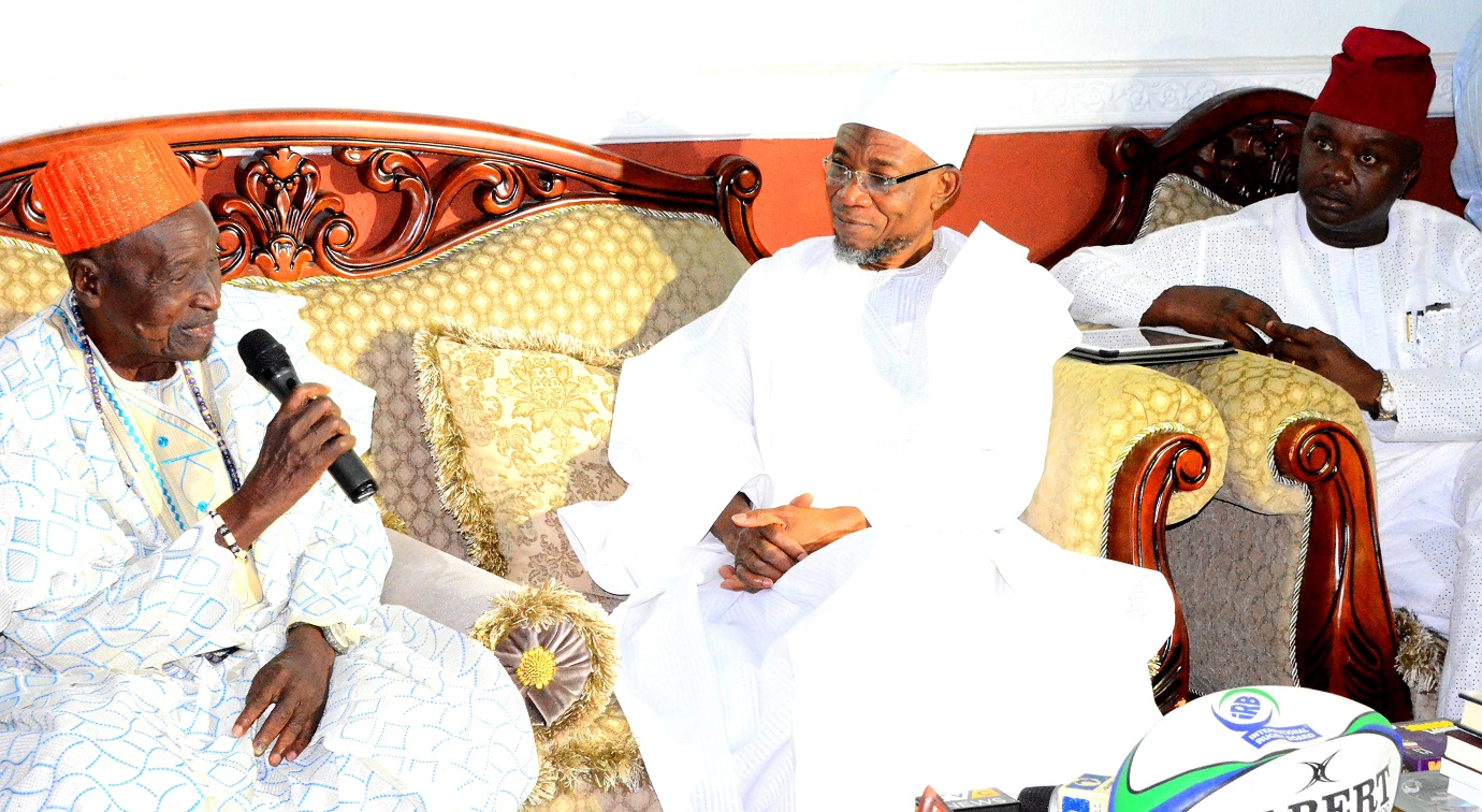 Governor State of Osun, Ogbeni Rauf Aregbesola (middle); Lowa of Ile-Ife, High Chief Joseph Olasoji  Ijaodola (left) and Senator Babajide Omoworare (right), during the Ife Traditional Council's visit to the Governor on the Rumoured Death of the Ooni of Ife at Government House,Osogbo on Thursday 30/07/2015.