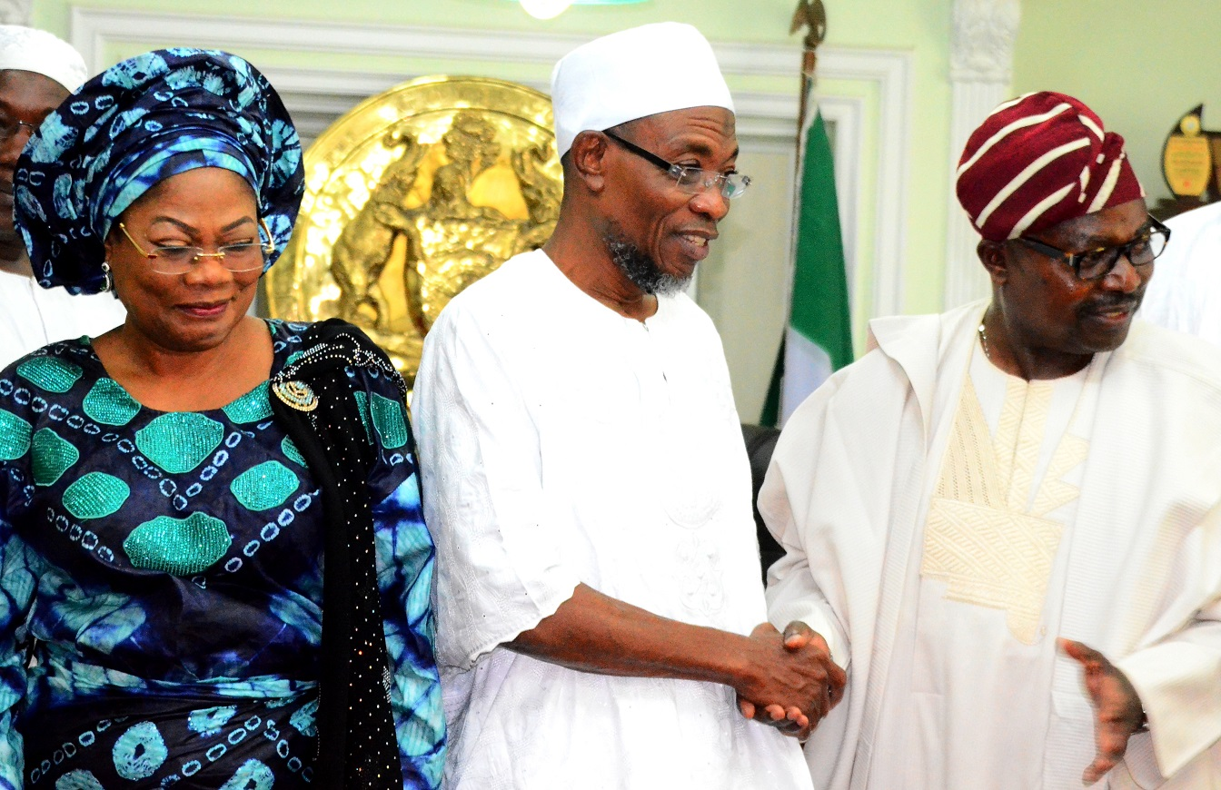 Governor State of Osun, Ogbeni Rauf Aregbesola (middle); his Deputy, Mrs. Titi Laoye-Tomori (left) and President, North America Based of Egbe Omo Yoruba, Agba-Akin Bolu Omodele (right), during the Delegation's visit to the Governor in his Office, at Government Secretariat, Abere, Osogbo, on Tuesday 07/07/2015.