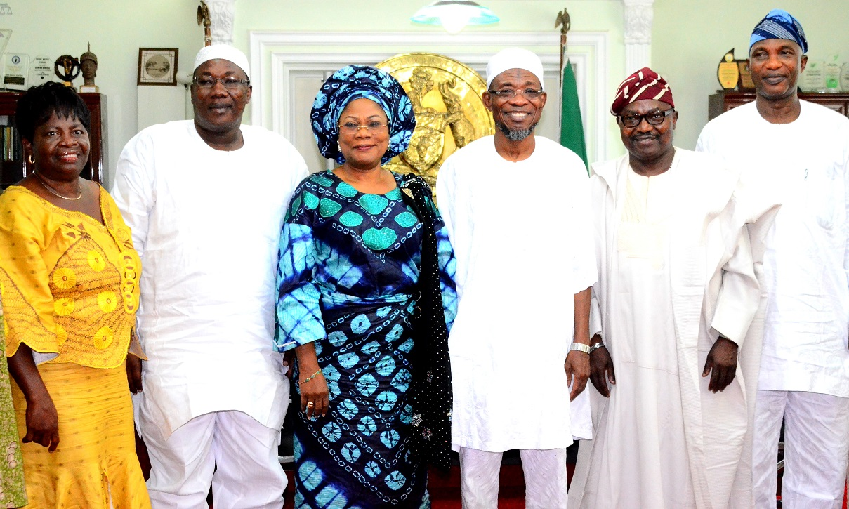Governor State of Osun, Ogbeni Rauf Aregbesola (3rd right); his Deputy, Mrs. Titi Laoye-Tomori (3rd left), Speaker, State of Osun House of Assembly, Hon. Najeem Salam (2nd left), Secretary to the State Government, Alhaji Moshood Adeoti (right), President, North America Based of Egbe Omo Yoruba, Agba-Akin Bolu Omodele (2nd right), during the Delegation's visit to the Governor in his Office, at Government Secretariat, Abere, Osogbo, on  Tuesday 07/07/2015.