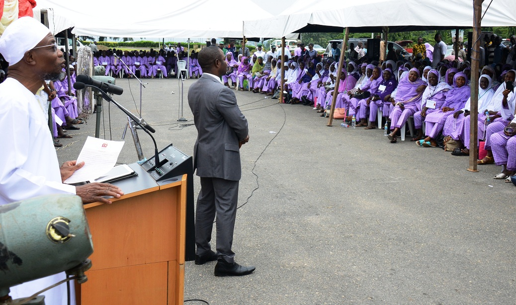 Governor State of Osun, Ogbeni Rauf Aregbesola, addressing intending pligrims, during the Farewell Ceremony of the 2015 Osun Hajj Pilgrims, at Parking Bola Ige House, State Secretariat, Abere on Thursday 13_08_2015.