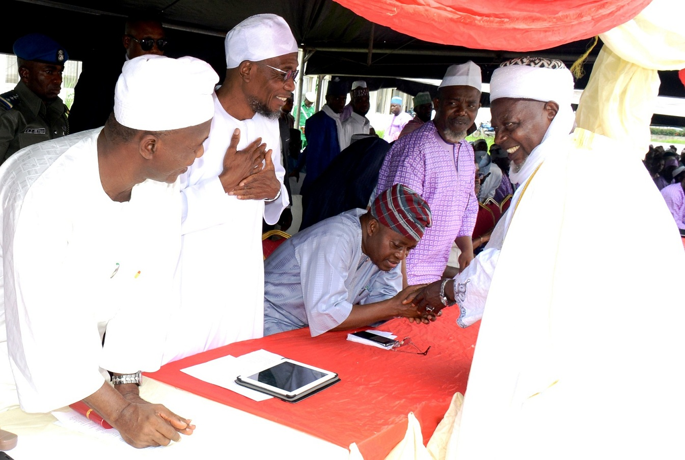 From right, Chief of Imam Osogboland, Sheik Musa Animasahun; Amiru Haji of Osun, Alhaji Sikiru Hassan; Chief of Staff to the Governor, Alhaji Gboyega Oyetola;Governor State of Osun, Ogbeni Rauf Aregbesola and Secretary to State Government, Alhaji Moshood Adeoti, during the Farewell Ceremony of the 2015 Osun Hajj Pilgrims, at Parking Bola Ige House, State Secretariat, Abere on Thursday 13_08_2015.