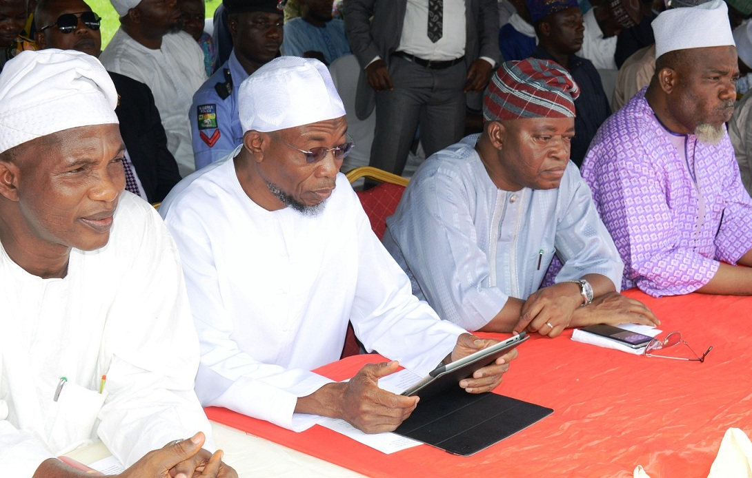 Governor State of Osun, Ogbeni Rauf Aregbesola, (2nd left), Secretary to State Government, Alhaji Moshood Adeoti (left), Chief of Staff to the Governor, Alhaji Gboyega Oyetola (3rd right) and  Amiru Haji of Osun, Alhaji Sikiru Hassan, during the Farewell Ceremony of the 2015 Osun Hajj Pilgrims, at Parking Bola Ige House, State Secretariat, Abere on Thursday 13_08_2015.