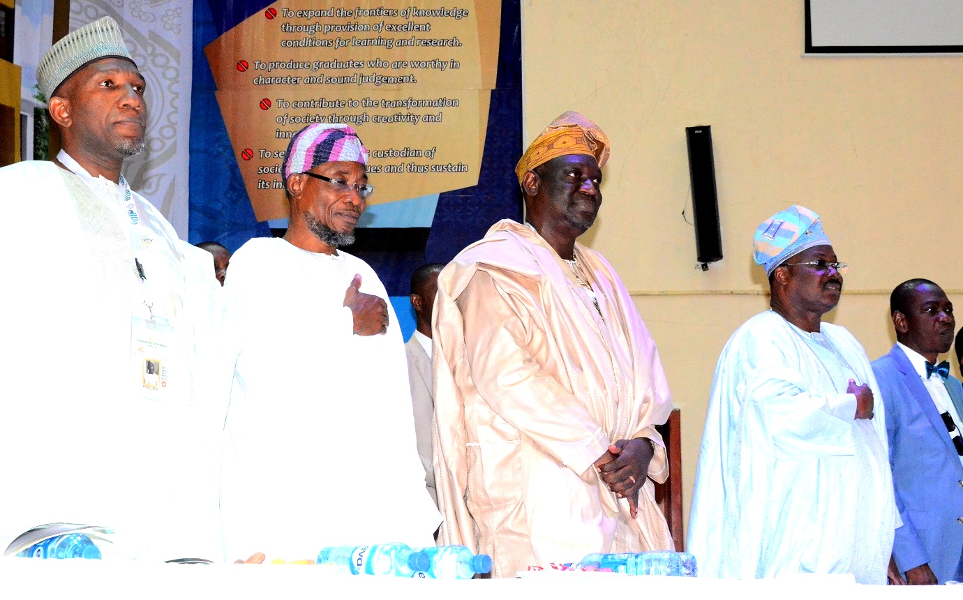 From left - Chairman,Council of Registered Builders of Nigeria (CORBON),Prof. Bala Kabir,Governor State of Osun, Ogbeni Rauf Aregbesola, President, Nigerian Institute of Building, Builder Tunde lasabi, Oyo State Governor, Senator Abiola Ajimobi and Former Head of Service of the Federation, Prof. Oladapo Afolabi during the 45th Builders' Conference/Annual General Meeting of the Nigerian Institute of Building, at International Conference Centre, University of Ibadan, Oyo State, on Tuesday 04/08/2015.