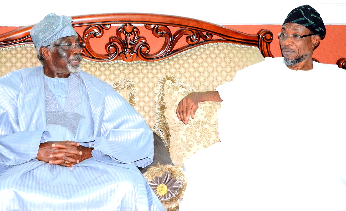 Governor State of Osun, 0gbeni Rauf Aregbesola and President Ijesa Society Group, Chief Tunde Aluko, during the courtesy visit to the Governor, at Government House, Osogbo