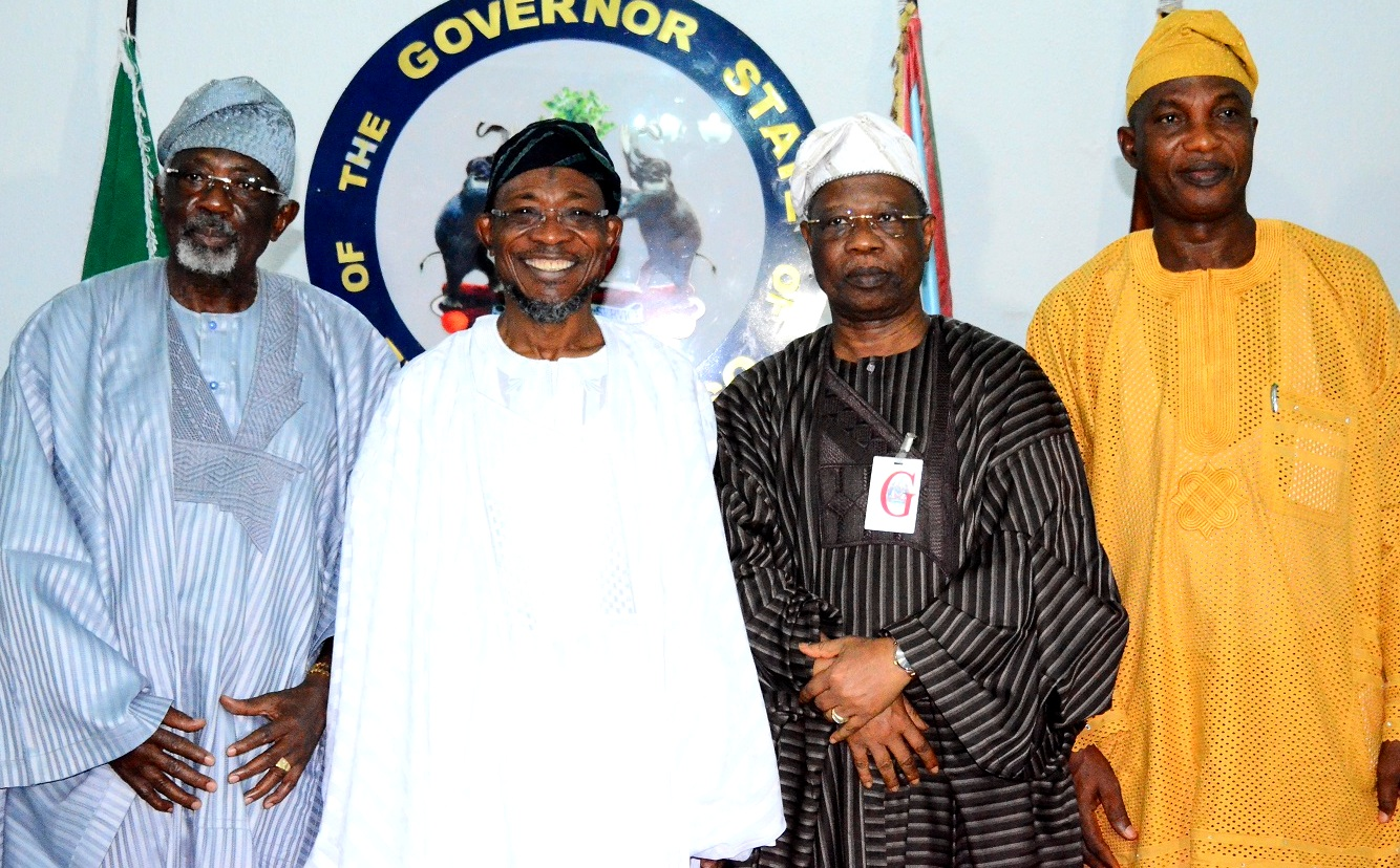 Governor State of Osun, 0gbeni Rauf Aregbesola (2nd left); Secretary to Osun State Government, Alhaji Moshood Adeoti (right), President Ijesa Society Group, Chief Tunde Aluko (left), First Vice President of Ijesa Society Group, Chief Felix Fagbohungbe (2nd right), during the courtesy visit to the Governor, at Government House, Osogbo.