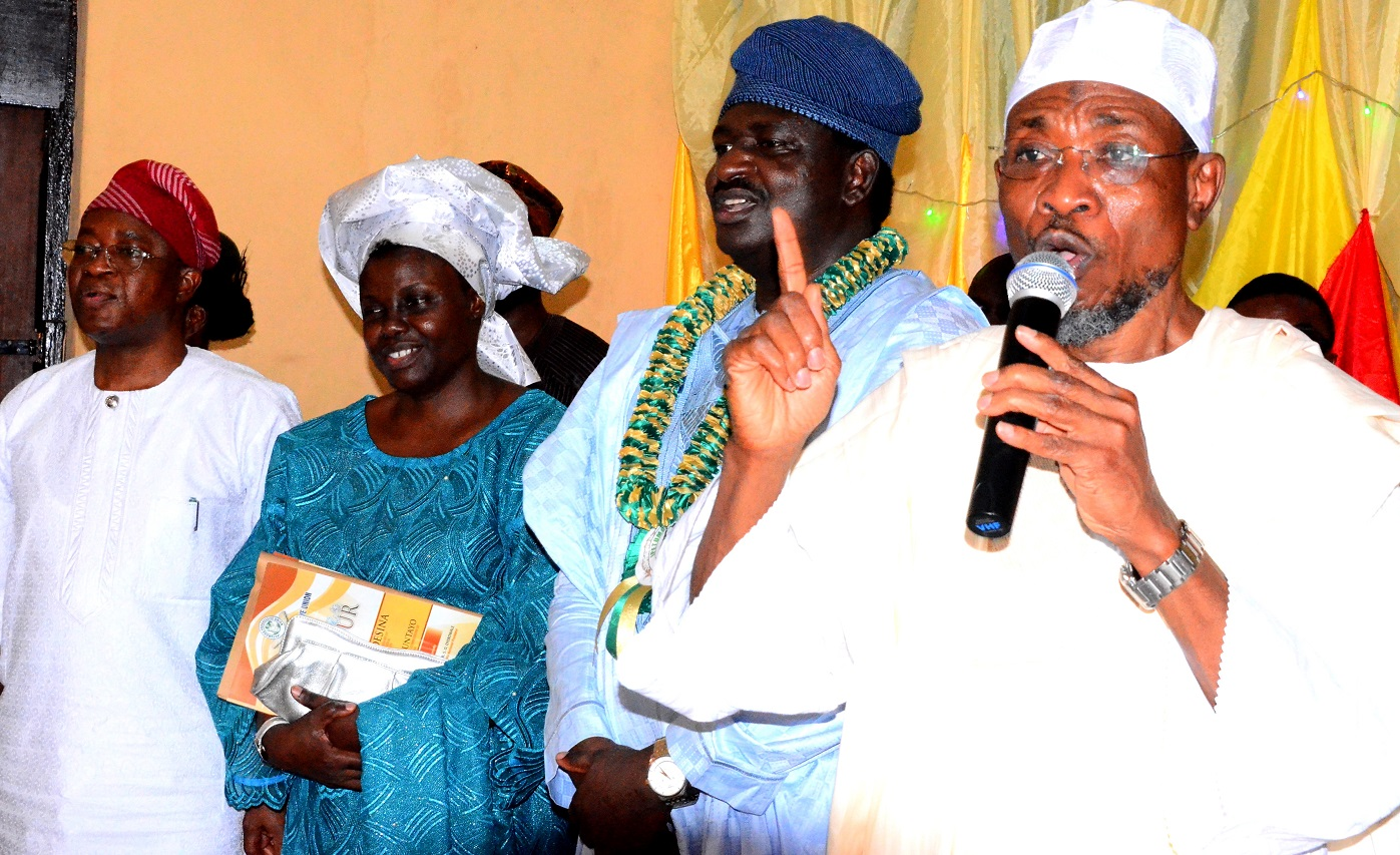 From right- Governor, State of Osun, Ogbeni Rauf Aregbesola; Special Adviser to President Muhammadu Buhari on Media and publicity, Mr. Femi Adesina, his wife, Mrs. Adenike Adesina and Chief of Staff to the Governor, Alhaji Gboyega Oyetola, during a thanksgiving reception organized in celebration of Adesina's new appointment, at Ipetumodu Township Hall, Ife-North Local Government, State of Osun, on Saturday, 22/08/2015.