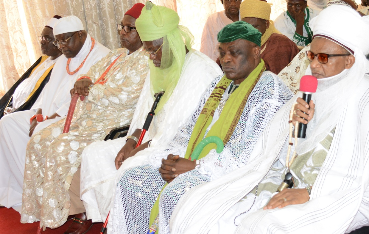 From right, Chairman, National Council of Traditional Rulers of Nigeria, Alh.(Dr.) Yahaya Abubakar, the Etsu Nupe; the Alayemore of Ido Osun, Oba Aderemi Adedapo, coordinating South/West; the Emir of Kasaure, Alhaji Najib Adamu Hassan, coordinating North/West; the Obi of Obinugwo, Oba (Dr.) Cletus Ilomironeja, representing South/East; the Okumagbe of Luleha, Oba Timothy Ayo Omobare, coordinating South/South and the Emir of Fika, Alh. (Dr.) Muhammadu Abali Ibu Idrissa, representing Nouth/East, during their condolence visit to governor Rauf Aregbesola of Osun on the demise of the Onni of Ife Oba Okunade Sijuwade, at the governor's office, abere, Osogbo on Wednesday 26-08-2015