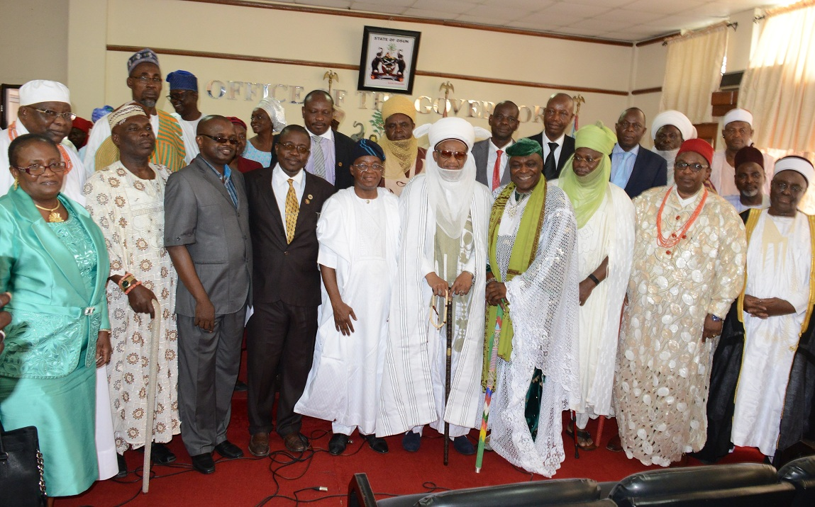Chairman, National Council of Traditional Rulers of Nigeria, Alh.(Dr.) Yahaya Abubaka (Middle);Chief of Staff to Osun Governor, Mr. Gboyega Oyetola (5th left);the Emir of Fika, Alh. (Dr.) Muhammadu Abali Ibu Idrissa, representing Nouth/East (right);the Obi of Obinugwo, Oba (Dr.) Cletus Ilomironeja, representing South/Eas (3rd right); Alayemore of Ido Osun, Oba Aderemi Adedapo, coordinating South/West (4th right) and some permanent secretaries,during the Traditional Rulers condolence visit to governor Rauf Aregbesola of Osun on the demise of the Onni of Ife Oba Okunade Sijuwade, at the governor's office, abere, Osogbo on Wednesday 26-08-2015