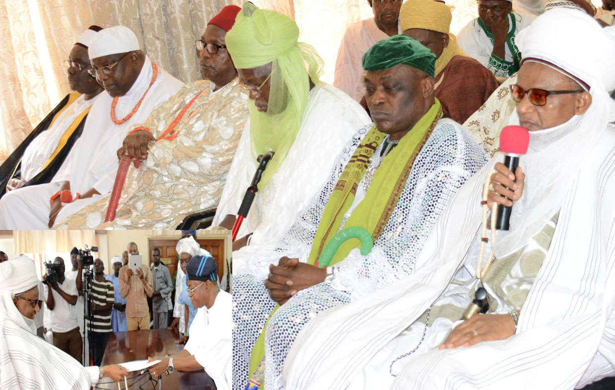From right, Chairman, National Council of Traditional Rulers of Nigeria, Alh.(Dr.) Yahaya Abubakar, the Etsu Nupe; the Alayemore of Ido Osun, Oba Adeen Adedapo, coordinating South/West; the Emir of Kasaure, Alhaji Najib Adamu Hassan, coordinating North/West; the Obi of Obinugwo, Oba (Dr.) Cletus Ilomironeja, representing South/East; the Okumagbe of Luleha, Oba Timothy Ayo Omobare, coordinating South/South and the Emir of Fika, Alh. (Dr.) Muhammadu Abali Ibu Idrissa, representing Nouth/East,InsertChief of Staff to Osun Governor, Mr. Gboyega Oyetola, collecting a condolence letter on behalf of the governor from Chairman, National Council of Traditional Rulers of Nigeria, Alh.(Dr.) Yahaya Abubakar, the Etsu Nupe, during the delegation's condolence visit, at the Governors office,Abere, Osogbo on Wednesday 27-08-2015