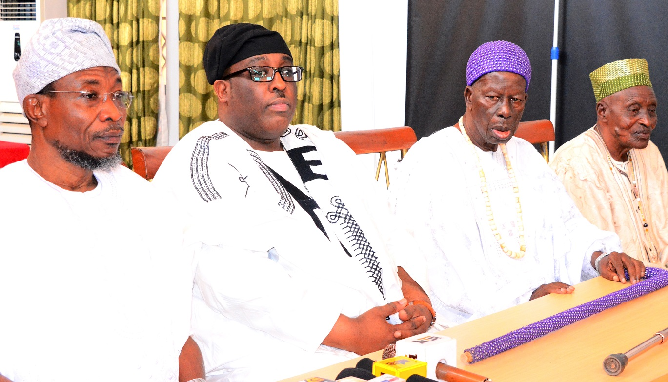 Governor State of Osun, Ogbeni Rauf Aregbesola; Prince Adetokunbo Sijuwade, Obalufe of Iremo, Oba Solomon Folorunso Omisakin and Lowa of Ile-Ife, Chief Joseph Ijaodola, during Ife Traditional Council's visit to tell the Governor that Ooni of Ile-Ife, Oba Okunade Sijuwade has joined his ancestors, at the Government House, Osogbo, on Wednesday 12/08/2015.