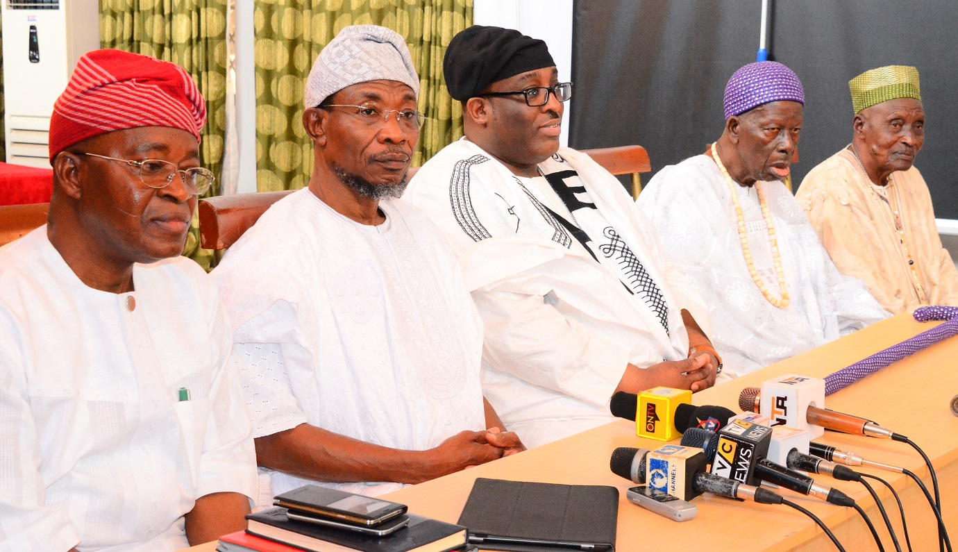 From left - Chief of Staff to the Governor Osun, Alhaji Gboyega Oyetola, Governor State of Osun, Ogbeni Rauf Aregbesola; Prince Adetokunbo Sijuwade, Obalufe of Iremo, Oba Sololmon Folorunso Omisakin and Lowa of Ile-Ife, Chief Joseph Ijaodola, during their visit to tell the Governor that Ooni of Ile-Ife, Oba Okunade Sijuwade has joined his ancestors, at the Government House, Osogbo, on Wednesday 12/08/2015