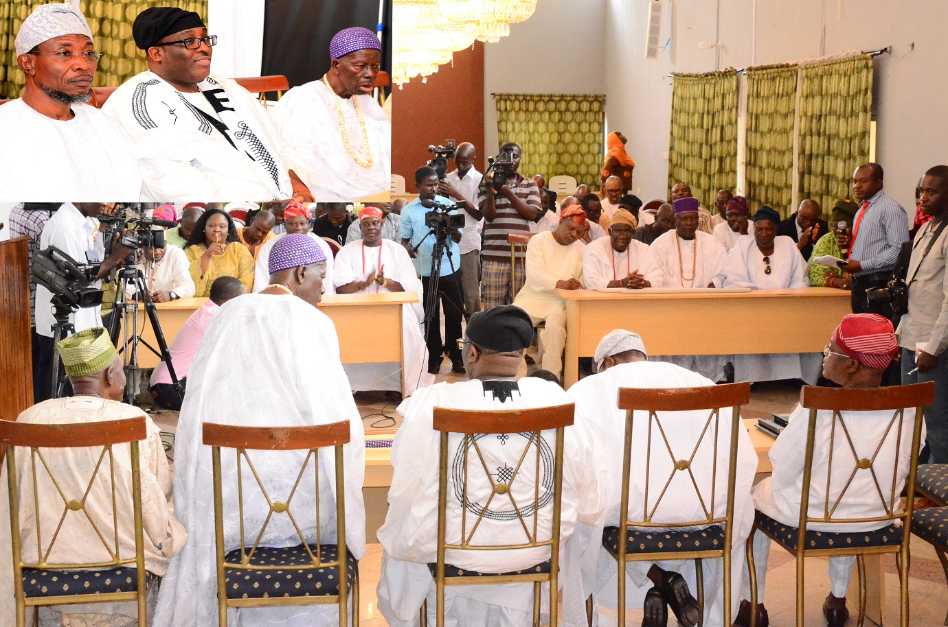 Governor State of Osun, Ogbeni Rauf Aregbesola; Prince Adetokunbo Sijuwade, Obalufe of Iremo, Oba Solomon Folorunso Omisakin, during their visit to tell the Governor that Ooni of Ile-Ife, Oba Okunade Sijuwade has joined his ancestors, at the Government House, Osogbo, on Wednesday 12/08/2015