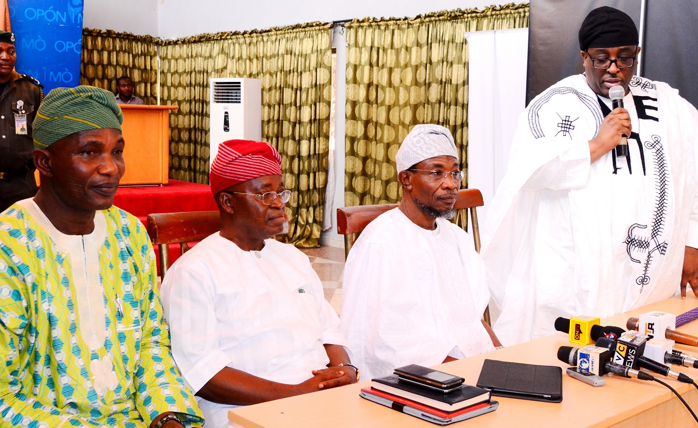 Governor State of Osun, Ogbeni Rauf Aregbesola (2nd right); Prince Adetokunbo Sijuwade (right),Chief of Staff to the Governor Osun, Alhaji Gboyega Oyetola (2nd left), and Secretary to the State Government, Osun, Alhaji Moshood Adeoti, during Ife Traditional Council's visit to tell the Governor that Ooni of Ile-Ife, Oba Okunade Sijuwade has joined his ancestors, at the Government House, Osogbo, on Wednesday 12/08/2015