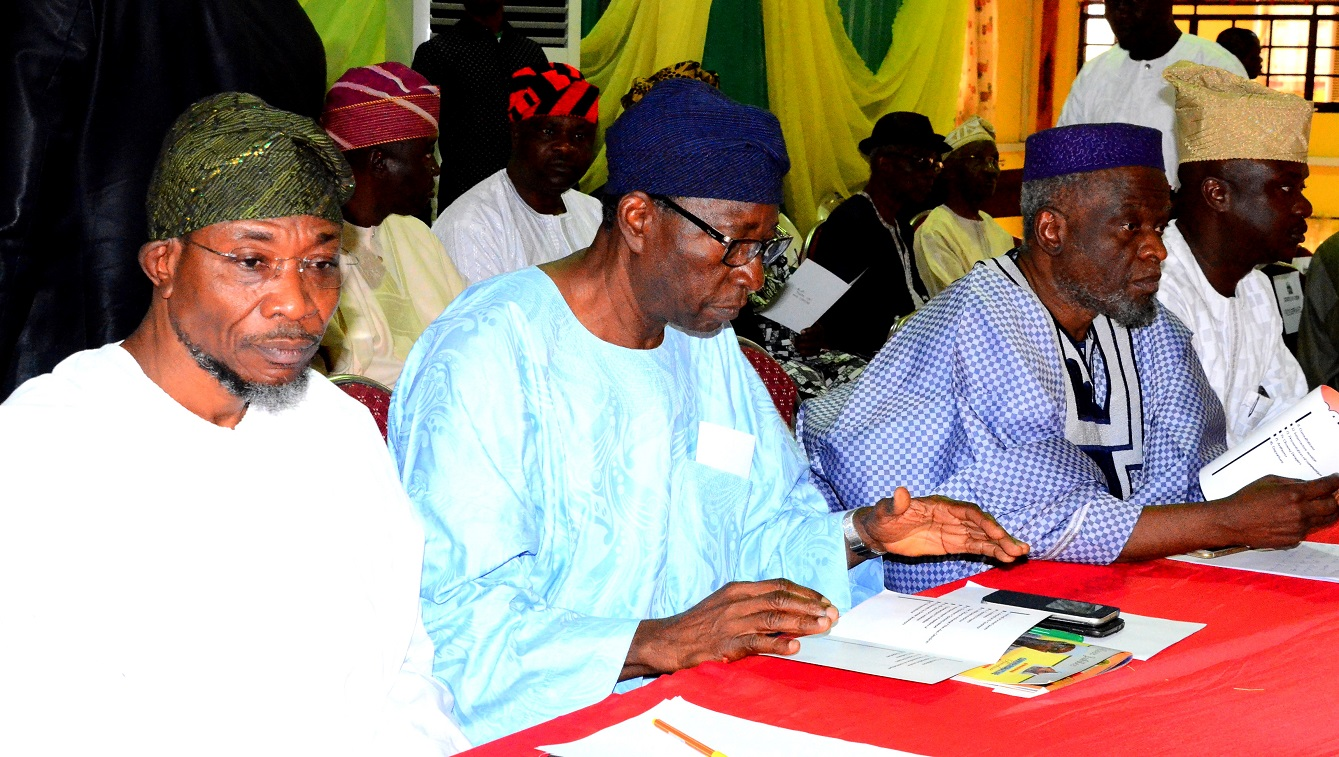 Governor State of Osun, Ogbeni Rauf Aregbesola, Former Secretary to the Osun State Government,  and Head of Service Osun, Chief Moses Aboaba, Senator Olusola Adeyeye and Senator Babajide Omoworare during the Osun Stakeholders Conference at WOCDIF Centre, Osogbo. On Monday 10/08/2015.