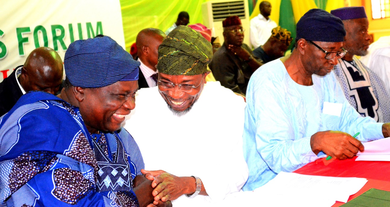 From left -Former Governor State of Osun, Prince Olagunsoye Oyinlola,Governor State of Osun, Ogbeni Rauf Aregbesola, Former Secretary to the Osun State Government,  and Head of Service, Chief Moses Aboaba and Senator Olusola Adeyeye during the Osun Stakeholders Conference at WOCDIF Centre, Osogbo. On Monday 10/08/2015.