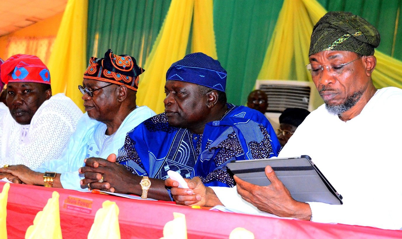 From right - Governor State of Osun, Ogbeni Rauf Aregbesola, Former Governor State of Osun, Prince Olagunsoye Oyinlola Former Deputy Governor Osun, Sooko Adeleke Adewoyin  and State of Osun House of Assembly, Hon. Najeem Salam during the Osun Stakeholders Conference at WOCDIF Centre, Osogbo. On Monday 10/08/2015.