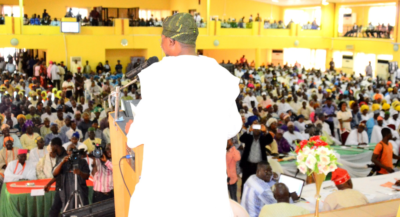 Governor Rauf Aregbesola of Osun, addressing participants,during the Osun Stakeholders Conference, held at WOCDIF Center, Osogbo on Monday 10-08-2015