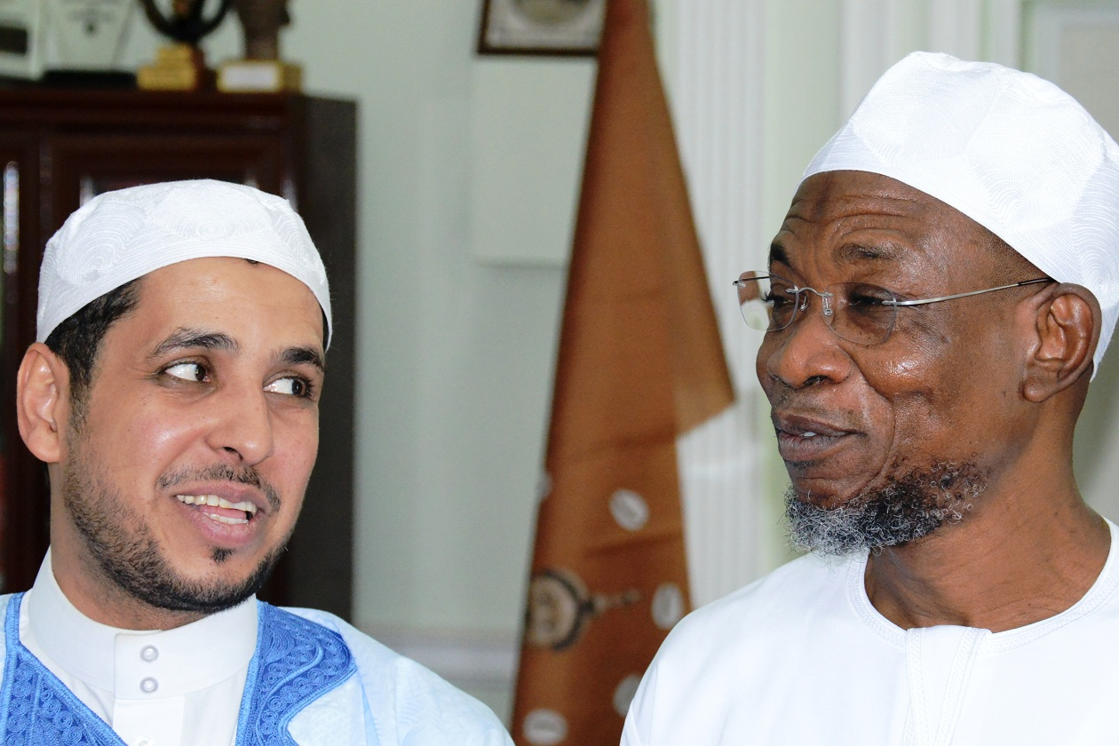 Governor, State of Osun, Ogbeni Rauf Aregbesola and Professor of Arabic Language, University of Imam Bin Saud in Riyadh, Saudi Arabia, Prof. Ibrahim Bin Abdullah, during his visit to the governor in his office at the weekend.