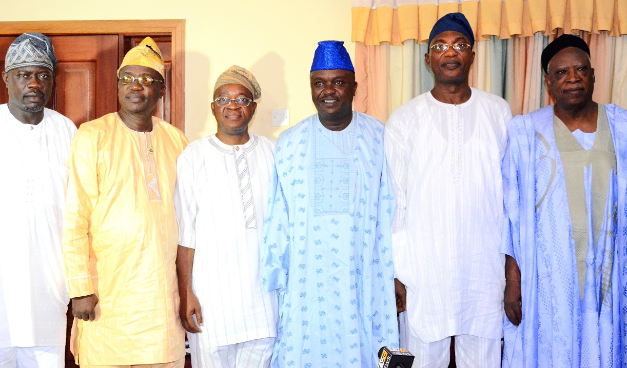 Secretary to the State Government of Osun, Alhaji Moshood Adeoti (2nd right), representing the governor; Senate delegation leader to Osun, Senator Abdullahi Adamu (right), Senator representing Osun East Senatorial District, Senator Babajide Omoworare (3rd right), Chief of Staff to the Governor, Alhaji Gboyega Oyetola (3rd left), Head of State Civil Service, Elder Sunday Owoeye (2nd left) and Former Commissioner for Home Affairs, Tourism and Culture, Alhaji Sikiru Ayedun (left), during the presentation of the Senate Condolence Letter to the Governor on the death of Ooni of Ife, Oba Okunade Sijuwade, at Government House, Osogbo on Thursday 20/08/2015.