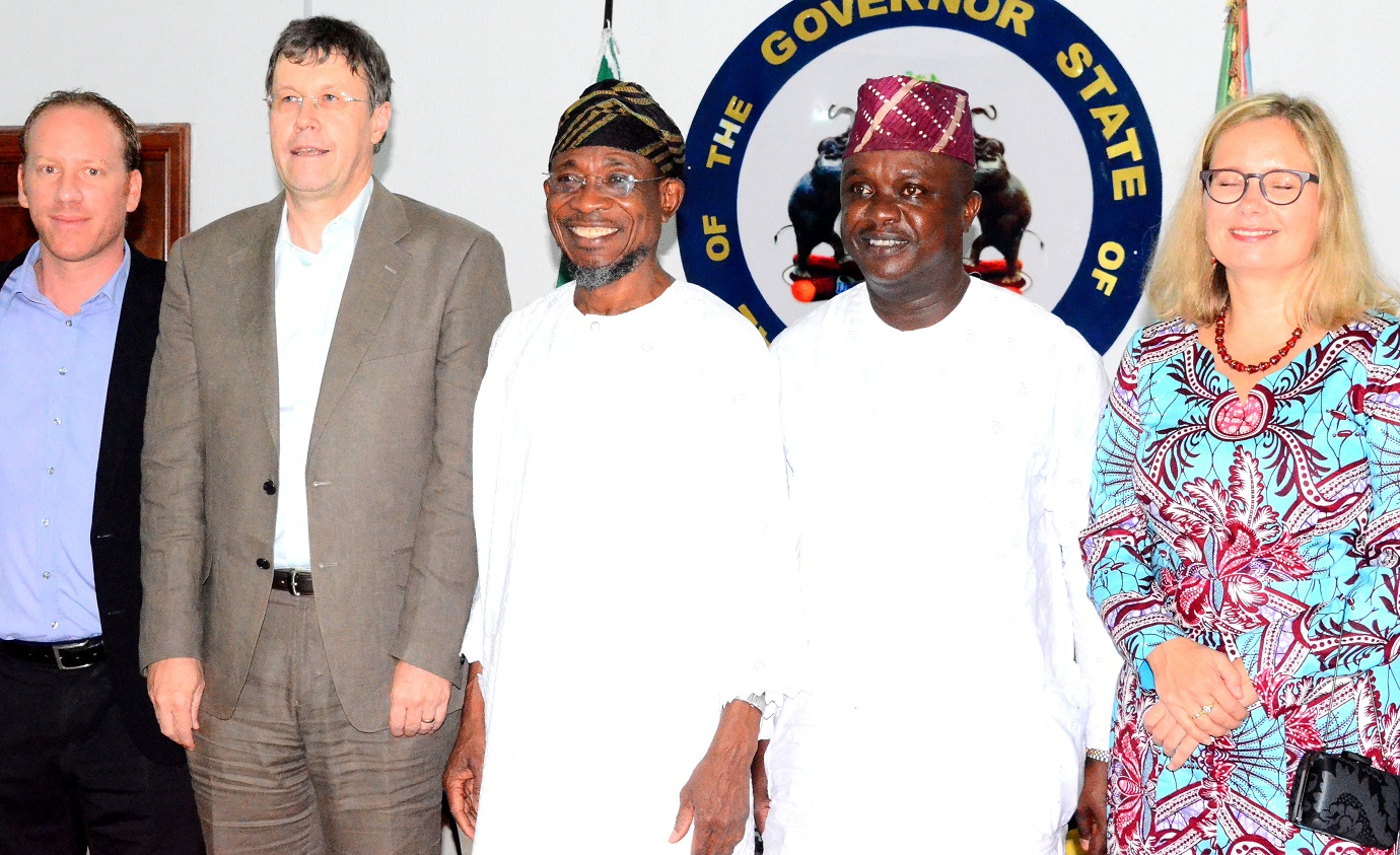 Governor State of Osun, Ogbeni Rauf Aregbesola (middle); Senator, representing Osun East Senator District, Senator Babajide Omoworare (2nd right), Leader, Swiss Embassy Delegation, Dr. Daniel Caregn (2nd left), Representative from Finland Embassy, Mrs. Toran Ekland (right) and Political Adviser, Swiss Embassy, Mr. Pascal Holliger (left), during a courtesy visit to the Governor, at Government House, Osogbo, last Friday