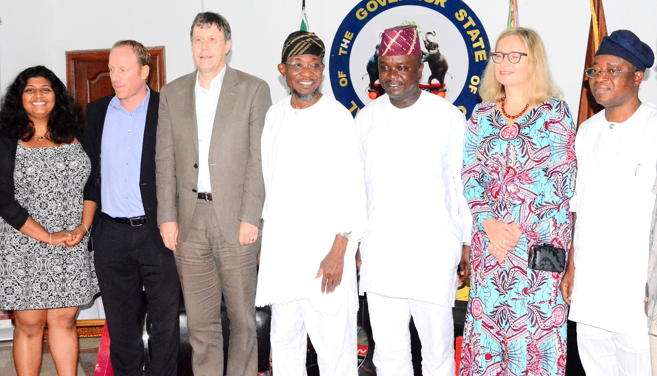 Governor State of Osun, Ogbeni Rauf Aregbesola (middle); Senator representing Osun East Senator District, Senator Babajide Omoworare (3rd right), Chief of Staff to the Governor, Alhaji Gboyega Oyetola (right), Leader, Swiss Embassy Delegation, Dr. Daniel Caregn (3rd left), Representative from Finland Embassy, Mrs. Toran Ekland (2nd right), Political Adviser, Swiss Embassy, Mr. Pascal Holliger (2nd left) and Ms Chitra Nagarajan (left), during a courtesy visit to the Governor, at Government House, Osogbo, last Friday