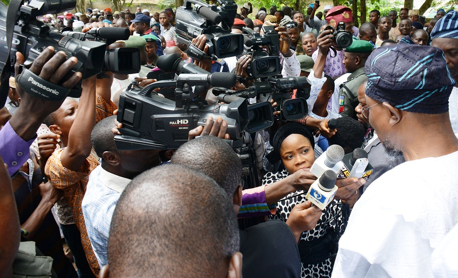 Governor State of Osun, Ogbeni Rauf Aregbesola, adressing Journalists after praying at Oke Baale prayer ground to mark the 2015 Eid-il-Kabir celebration in Osogbo on Thursday 24-09-2015