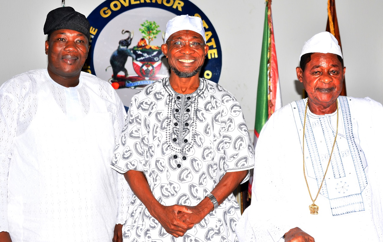 Governor, State of Osun, Ogbeni Rauf Aregbesola (middle);  the Alaafin of Oyo, Oba Lamidi Adeyemi (right) and Speaker of the House of Assembly, Hon. Najeem Salam, during a condolence visit to the governor on the demise of the Ooni of Ife, Oba Okunade Sijuwade, at Government House Osogbo, on Monday 07/09/2015.