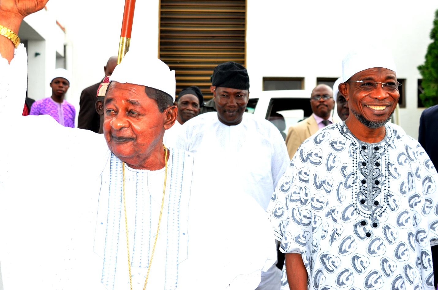 From right-Governor, State of Osun, Ogbeni Rauf Aregbesola;  Speaker of the State House of Assembly, Hon. Najeem Salam and the Alaafin of Oyo, Oba Lamidi Adeyemi, during a condolence visit to Aregbesola on the demise of the Ooni of Ife, Oba Okunade Sijuwade, at Government House Osogbo, on Monday 07/09/2015.