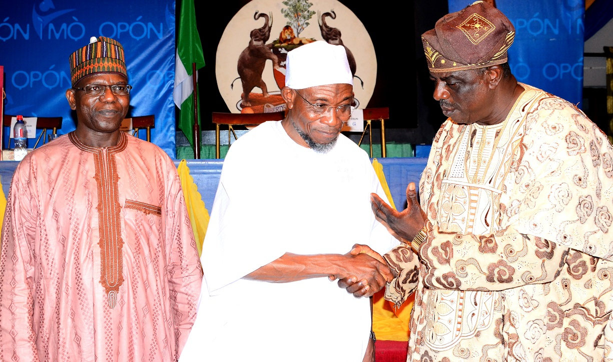 Governor, State of Osun, Ogbeni Rauf Aregbesola (middle) discussing with the Consultant to Nigerian  Statistical Association, Prof. Peter Osanaye (right), with them is; National President, Nigerian Statistical Association (NSA), Dr. Muhammed Tumala, during a dinner party, organized by the State Government, at Government House, Osogbo, at the weekend