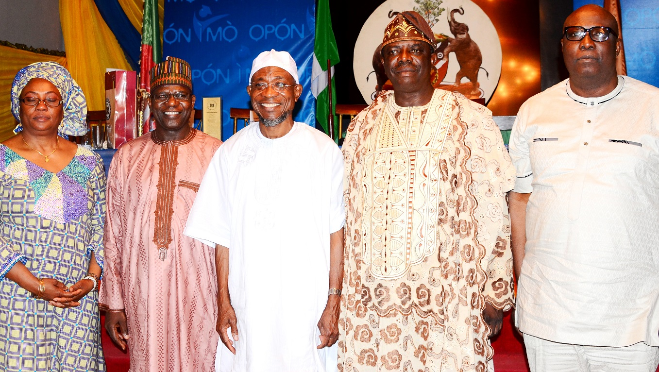 Governor, State of Osun, Ogbeni Rauf Aregbesola (middle); National President, Nigerian Statistical Association (NSA), Dr. Muhammed Tumala (2nd left), Consultant to Nigerian  Statistical Association, Prof. Peter Osanaye (2nd right), Fellow of NSA, Dr. Sere Ejembi (left) and former Senator, Ekiti Central, Babafemi Ojudu, during a dinner party, organized by the State Government, at Government House, Osogbo, at the weekend.