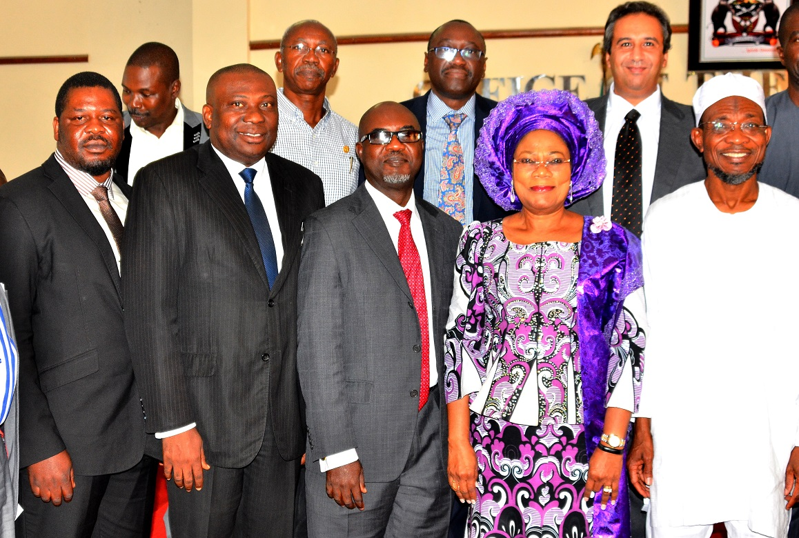 From right- Governor State of Osun, Ogbeni Rauf Aregbesola; his Deputy, Mrs. Titi Laoye-Tomori, Managing Director CBC Energy, Mr. Kunle Oderinu, Chief Operation Officer CBC Energy, Mr. Kingley Odoh, Newton Engineering Consultant, CBC Energy, Mr. Samsideen Alabi during a courtesy visit to the Governor by the Management Team of C.B.C Hydro-Power Project, at Governor's Office, Abere, Osogbo on 22/09/2015.