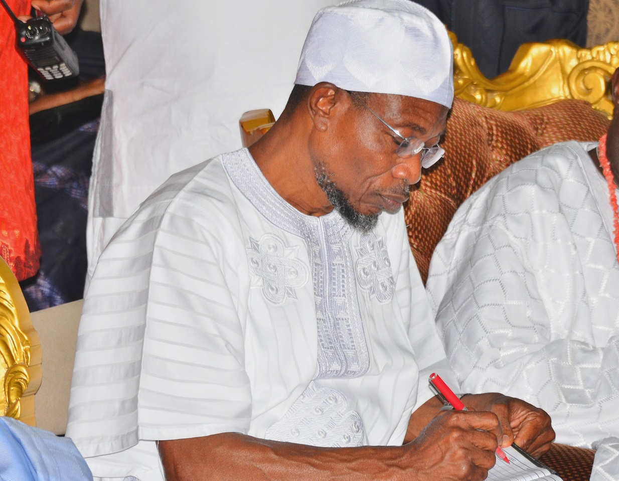 Governor State of Osun, Ogbeni Rauf Aregbesola signing a condolence register in honour of the Late Yeye Oodua, Chief (Mrs.) Hannah Idowu Awolowo at Awolowo Country Home, Ikenne, Ogun State on Sunday 20/09/2015