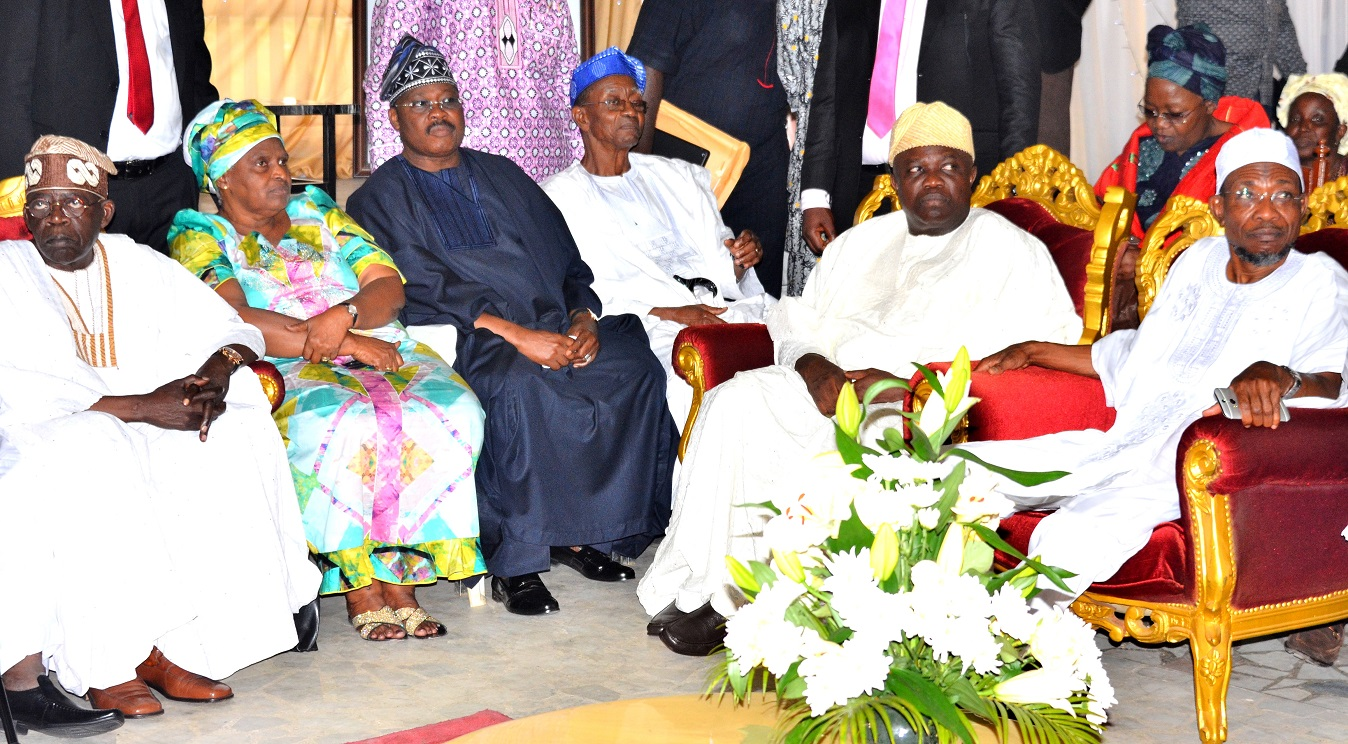 Governor State of Osun, Ogbeni Rauf Aregbesola(right); Lagos State Governor, Mr. Akinwumi Ambode(2nd right), National Leader All Progressive Congress (APC), Senator Bola Ahamed Tinubu(left), Oyo State Governor, Senator Abiola Ajimobi(3rd left), Rev. Mrs  Tola Oyediran(2nd left) and Professor Kayode Oyediran (3rd right) during a condolence visit in honour of the Late Yeye Oodua, Chief (Mrs.) Hannah Idowu Awolowo at Awolowo Country Home, Ikenne, Ogun State on Sunday 20/09/2015