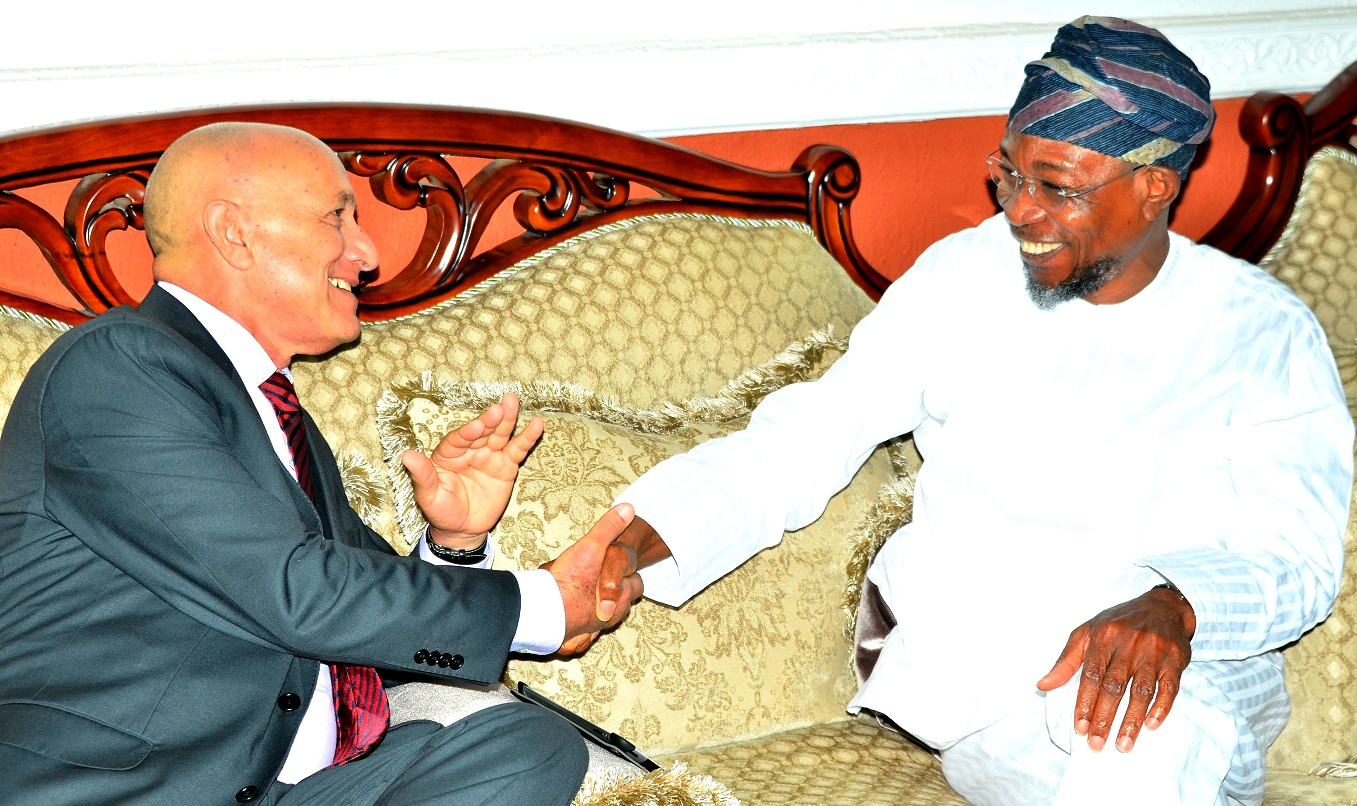 Governor State of Osun, Ogbeni Rauf Aregbesola and Ambassador of Cuba, Carlos Trejo Sosa, during a condolence visit to the governor by the Cuba Ambassador who lead the Delegation over the demise of Ooni of Ife, Oba Okunade Sijuwade, at Government House, Osogbo on Monday 31/08/2015.