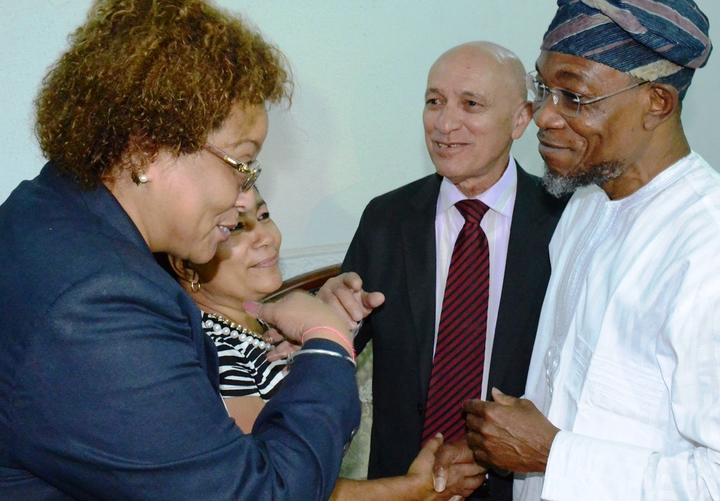 Governor State of Osun, Ogbeni Rauf Aregbesola (right); Ambassador of Cuba to Nigeria, Carlos Trejo Sosa (2nd right) and his wife, Nelba Peirg Morales (2nd left) and Deputy of the Mission, Miriam Morales Palmero (left), during a condolence visit to the governor by the Cuba Ambassador who lead the Delegation over the demise of Ooni of Ife, Oba Okunade Sijuwade, at Government House, Osogbo on Monday 31/08/2015.