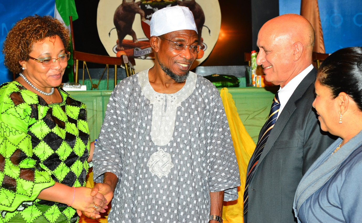 Governor, State of Osun, Ogbeni Rauf Aregbesola (2nd left); Cuban Ambassador to Nigeria, Mr. Carlos Trejo Sosa (2nd right), his wife, Mrs. Nelba Peirg Morales (right) and Deputy Head of Cuban Commission to Nigeria, Mrs. Miriam Morales Palmero (right), during a dinner party organized by the State Government for the Cuban Envoy, at Government House, Osogbo, on Wednesday 02/09/2015.