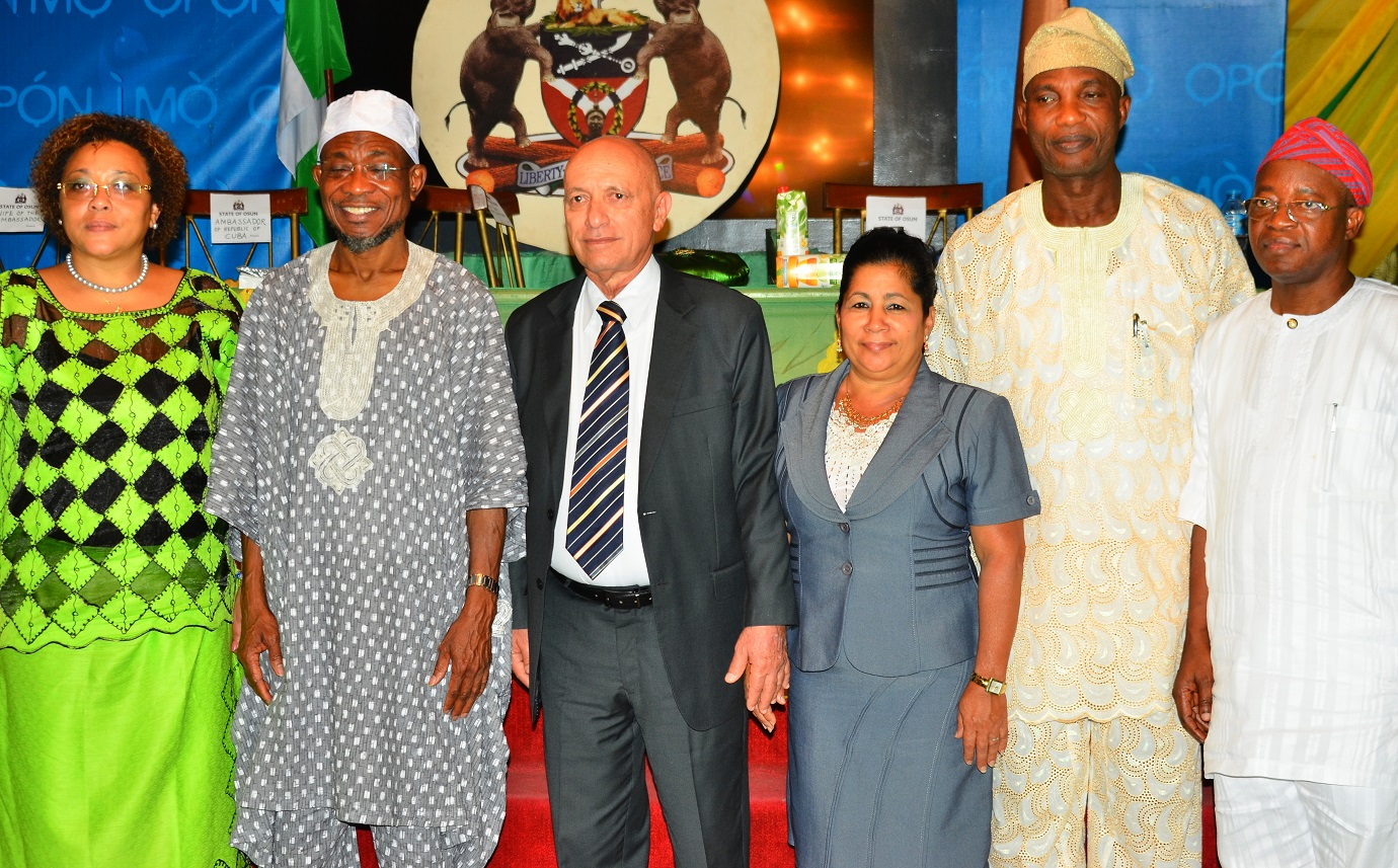 Governor, State of Osun, Ogbeni Rauf Aregbesola (2nd left); Cuban Ambassador to Nigeria, Mr. Carlos Trejo Sosa (3rd left), his wife, Mrs.Nelba Peirg Morales (3rd right), Deputy Head of Cuban Commission to Nigeria, Mrs. Miriam Morales Palmero (left), Secretary to the State Government, Alhaji Moshood Adeoti (2nd right) and Chief of Staff to the Governor, Alhaji Gboyega Oyetola, during a dinner party organized by the State Government for the Cuban Envoy, at Government House, Osogbo, on Wednesday 02/09/2015.