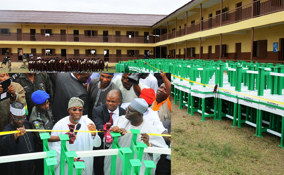 Some of Tables and Chairs to be distributed to thirty six States and FCT, SUBEBs in Nigeria, by Federal Government, hosted by Osun State SUBEB.Insert is Governor Rauf Aregbesola (middle); Deputy Executive Secretary, Universal Basic Education (UBEC), Dr Yakubu Gambo (right), representing the Executive Secretary and State Chairman, Universal Basic Education Board, Prince Felix Awofisayo, during the National Flag off ceremony, at L.A Government Middle School, Ayetoro, Osogbo on Tuesday 08-09-2015