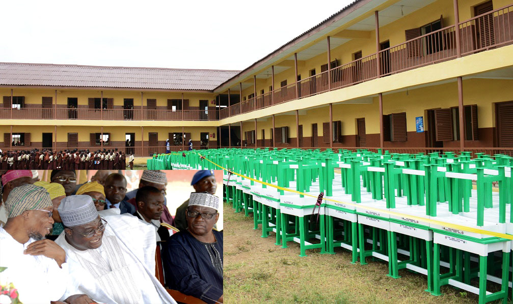Some of Tables and Chairs to be distributed to thirty six States and FCT, SUBEBs in Nigeria by Federal Govermment, hosted by Osun State SUBEB.Insert is Governor Rauf Aregbesola (left); Deputy Executive Secretary, Universal Basic Education (UBEC), Dr Yakubu Gambo (middle), representing the Executive Secretary and State Chairman, Universal Basic Education Board, Prince Felix Awofisayo, during the National Flag off ceremony, at L.A Government Middle School, Ayetoro, Osogbo on Tuesday 08-09-2015