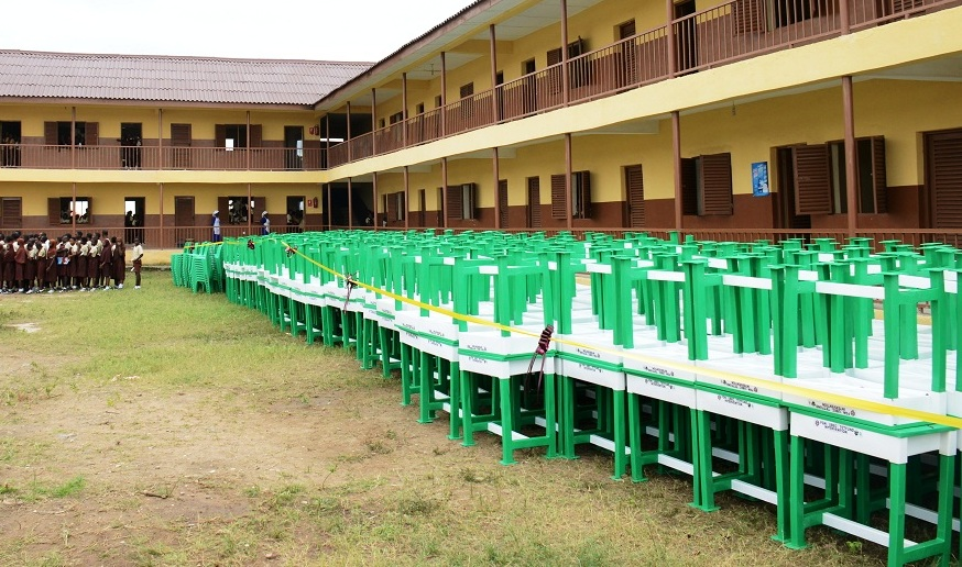Some of Tables and Chairs to be distributed to thirty six States and FCT, SUBEBs in Nigeria by Federal Government, hosted by Osun, during the National Flag off ceremony, at L.A Government Middle School, Ayetoro, Osogbo on Tuesday 08-09-2015