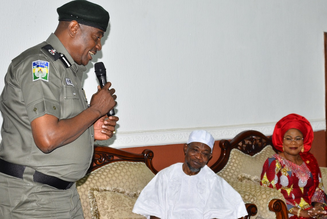 From left-Inspector General of Police (IGP), Solomon Arase; Governor State of Osun, Ogbeni Rauf Aregbesola and his deputy, Mrs. Titi Laoye-Tomori, during a courtesy visit to the Governor, at Government House, Osogbo State of Osun, on Monday 28/092015.